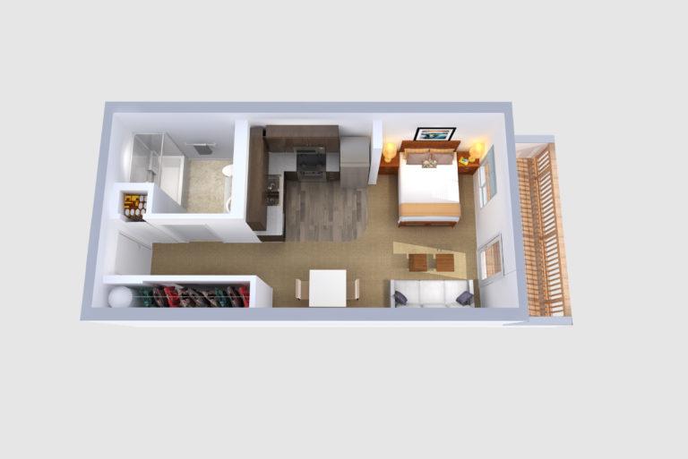 -Floorplan D Studio /1 BATH 443 Sq.ft.Sq.ft.