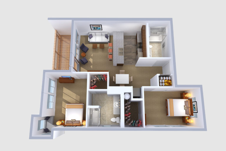 -Floorplans F & G 2  BED/2 BATH 952-1046 Sq.ft.Sq.ft.