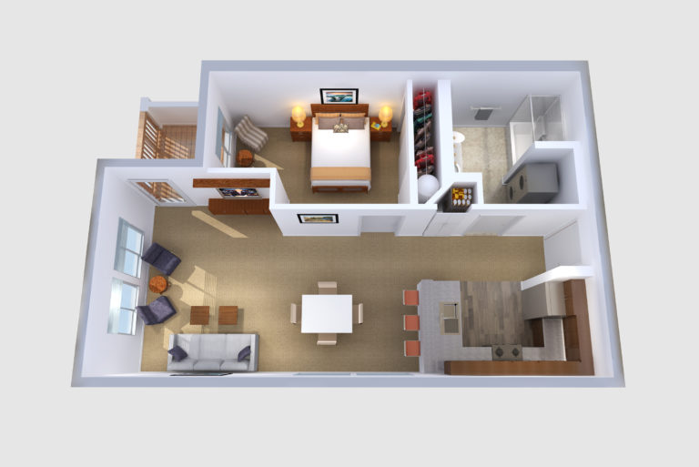 -Floorplans C & I 1  BED/1 BATH 734 Sq.ft.Sq.ft.
